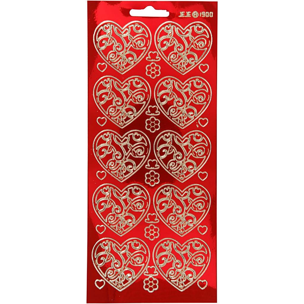 Billede af Creativ Company, Stickers, ark 10x23 cm, guld, transparent rød, hjerter, 1ark