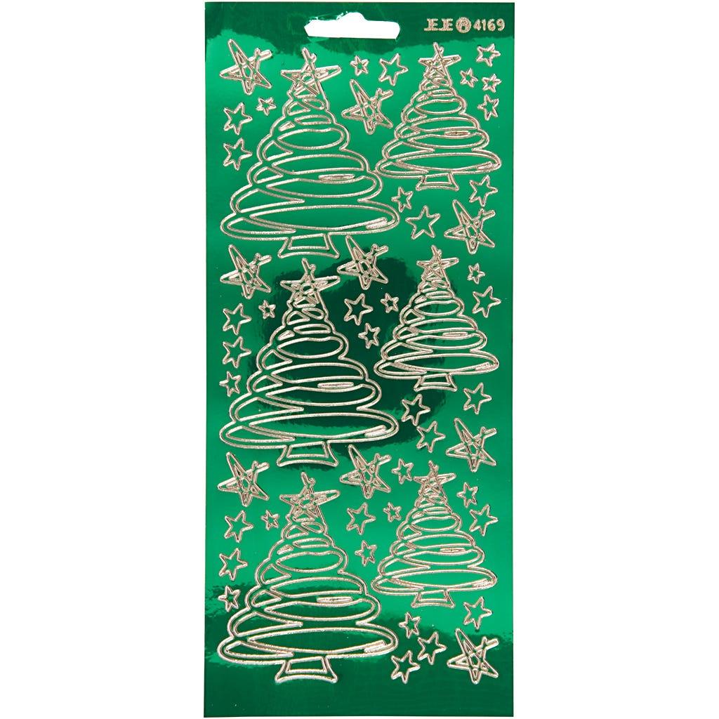 Billede af Creativ Company, Stickers, ark 10x23 cm, transparent grøn, guld, juletræer, 1ark