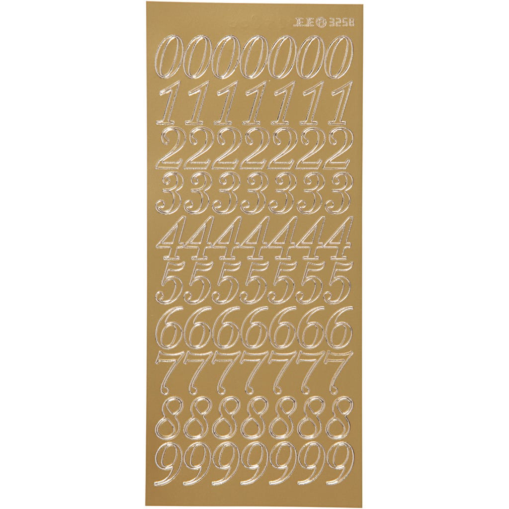 Billede af Creativ Company, Stickers, ark 10x23 cm, guld, tal, 1ark