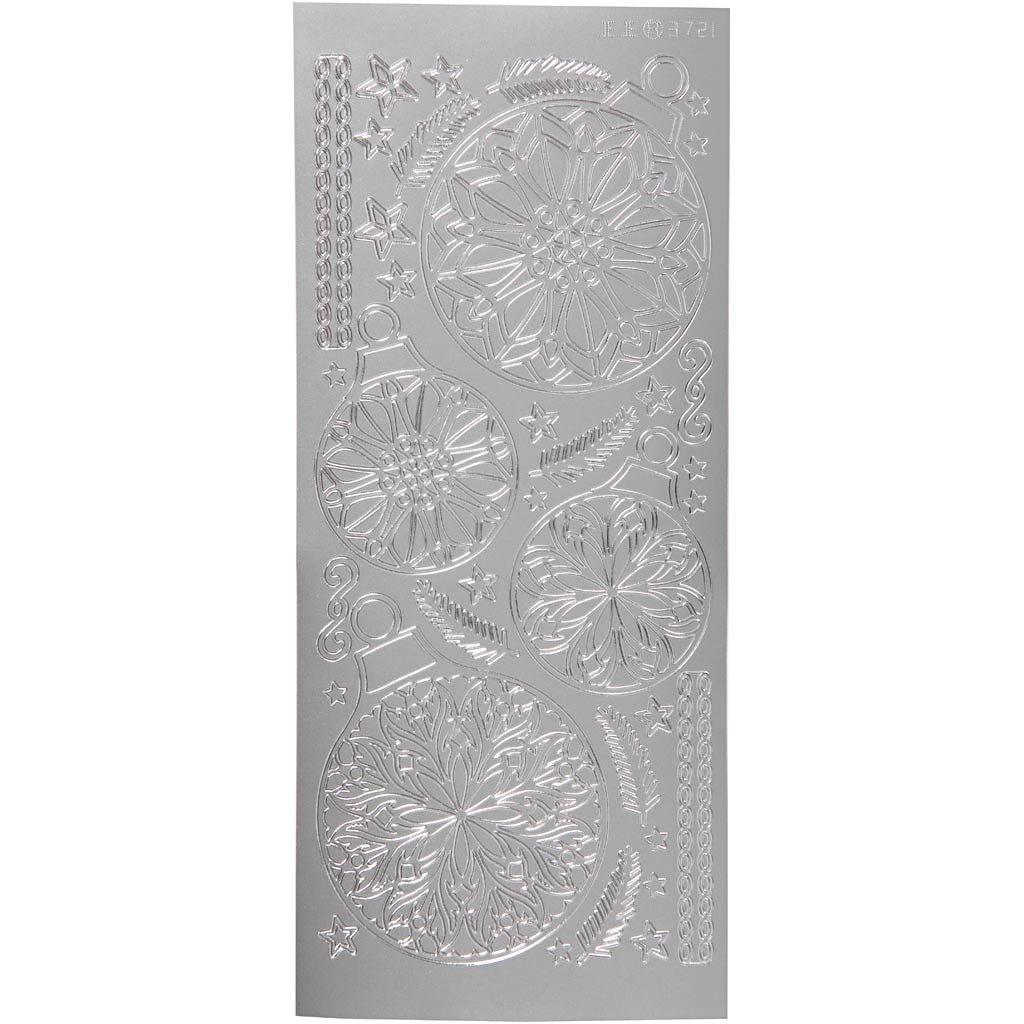 Billede af Creativ Company, Stickers, ark 10x23 cm, sølv, julekugler, 1ark