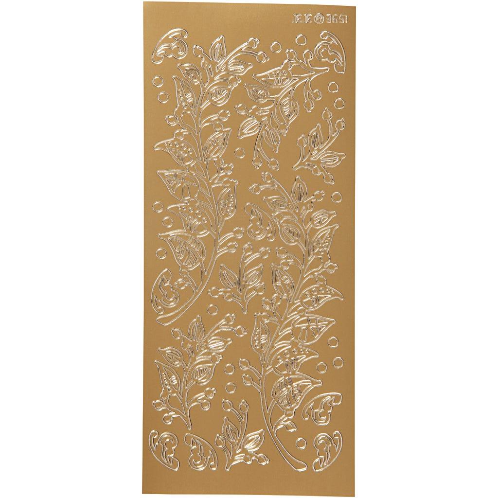 Billede af Creativ Company, Stickers, ark 10x23 cm, guld, blade, 1ark