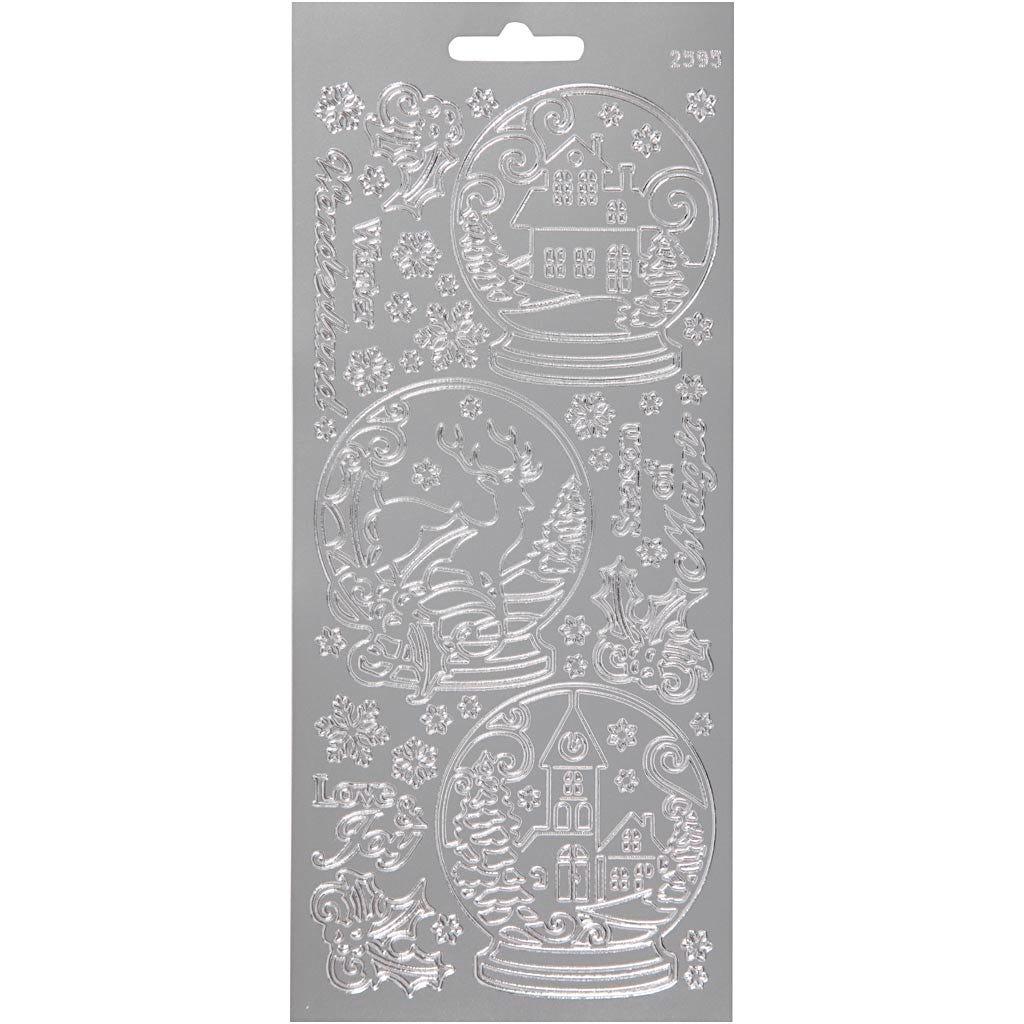 Billede af Creativ Company, Stickers, ark 10x23 cm, sølv, rystekugler, 1ark