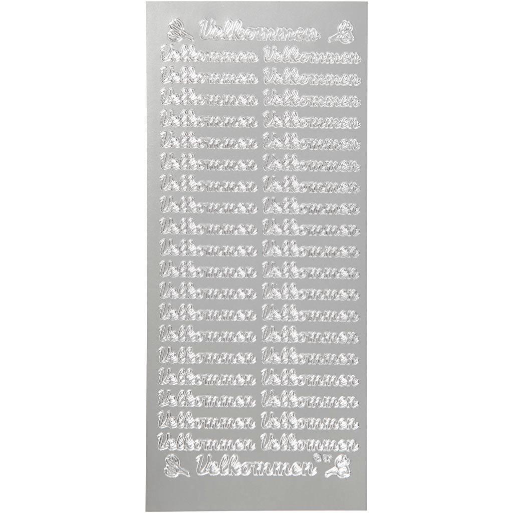 Billede af Creativ Company, Stickers, ark 10x23 cm, sølv, velkommen, 1ark