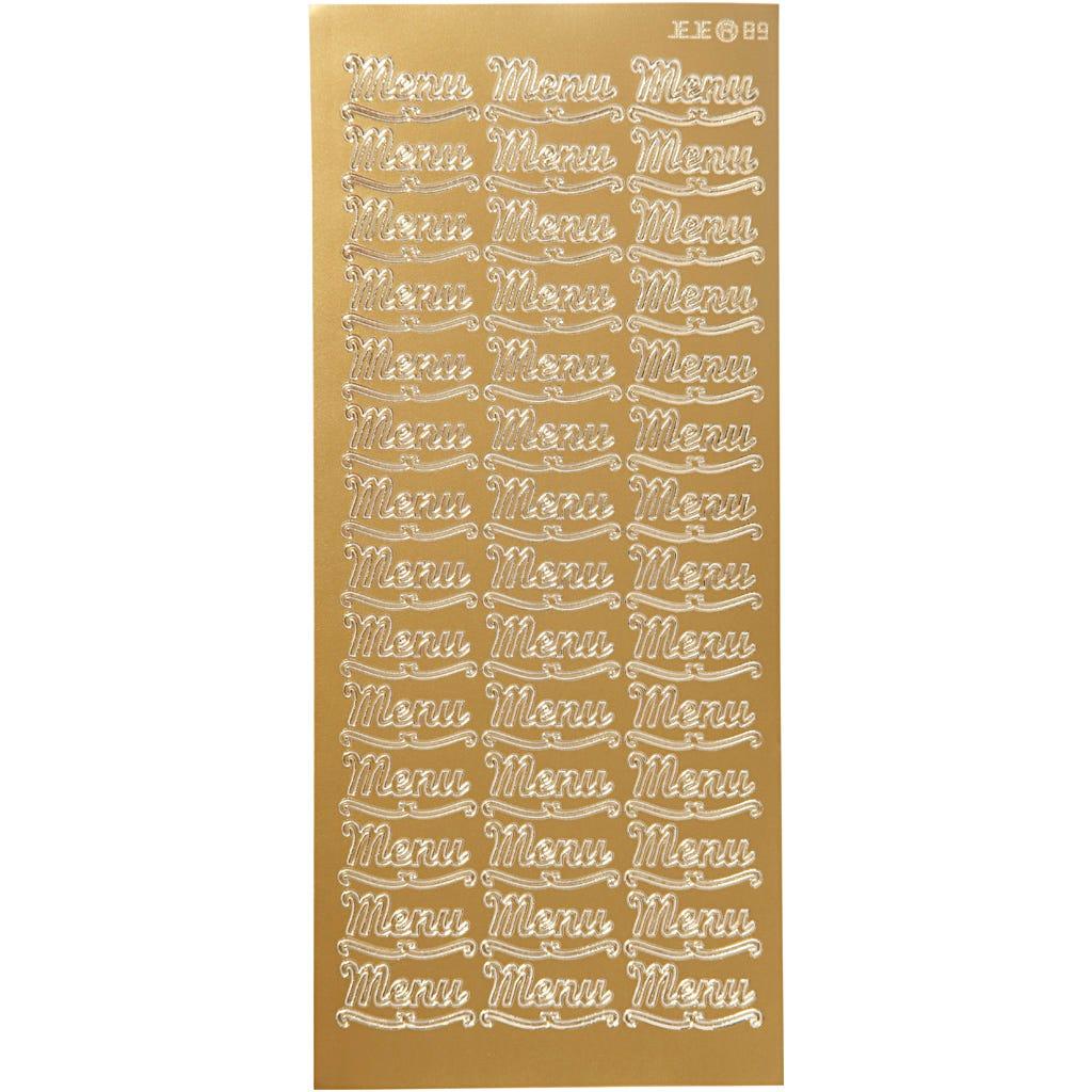 Billede af Creativ Company, Stickers, ark 10x23 cm, guld, menu, 1ark