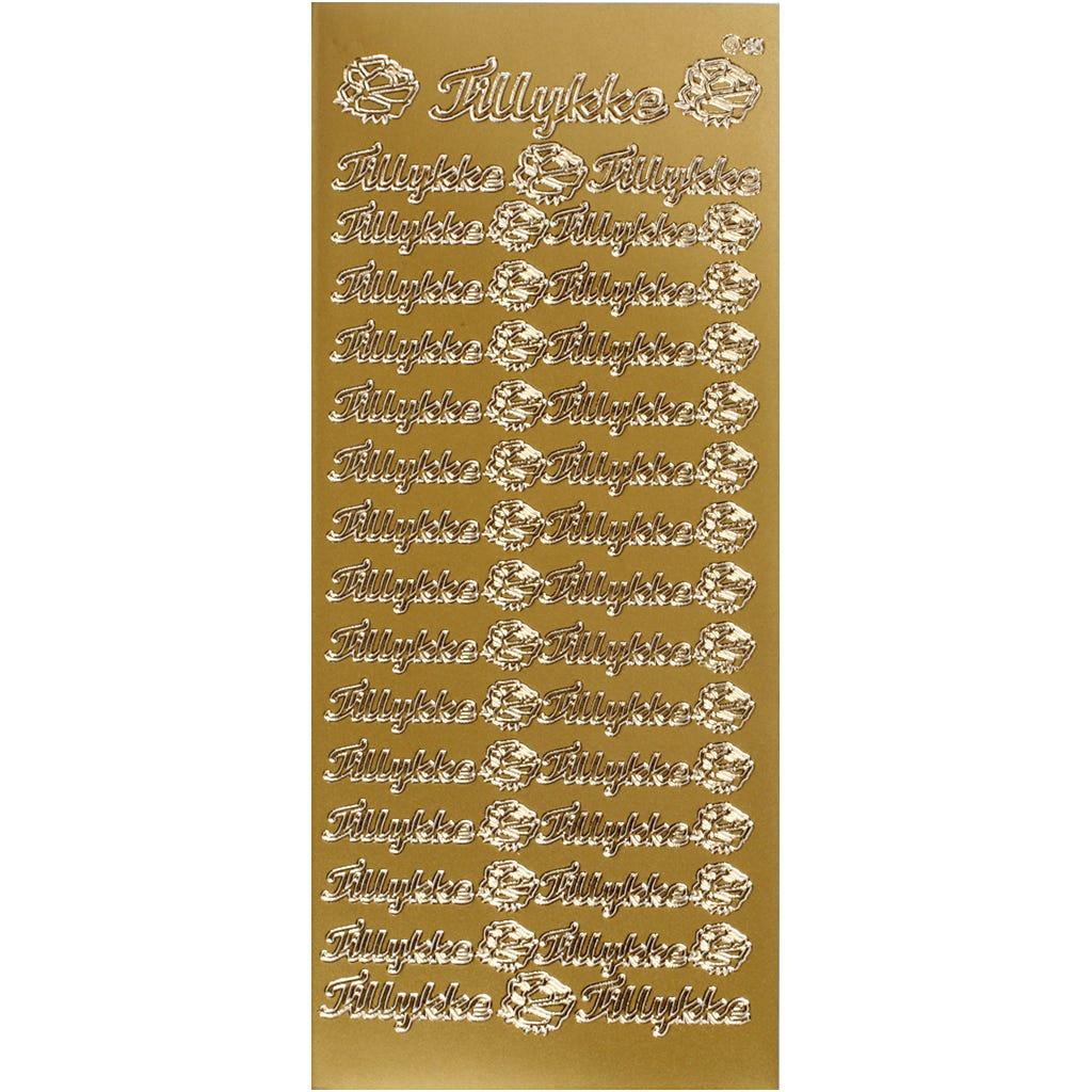 Billede af Creativ Company, Stickers, ark 10x23 cm, guld, tillykke, 1ark