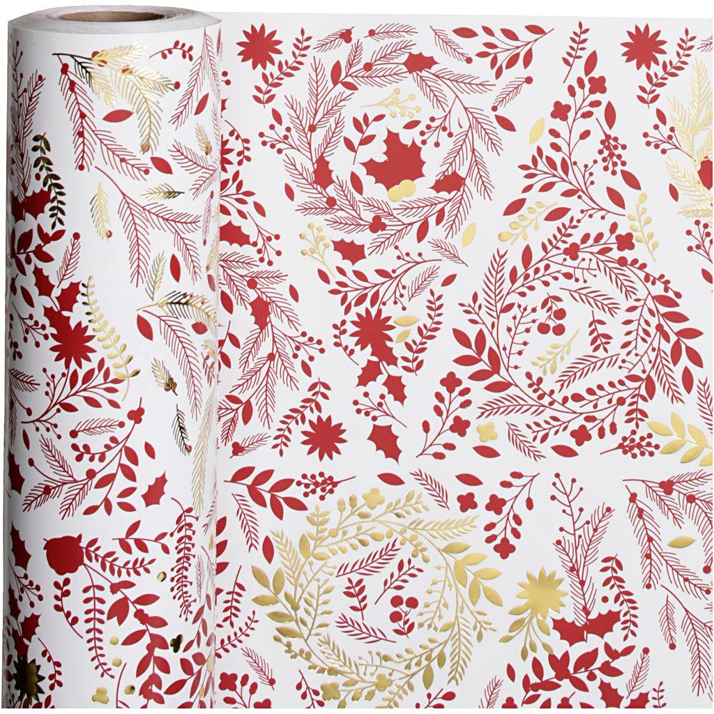 Billede af Vivi Gade, Gavepapir, B: 50 cm, 80 g, hvid, guld, rød, Juletræer, 100m