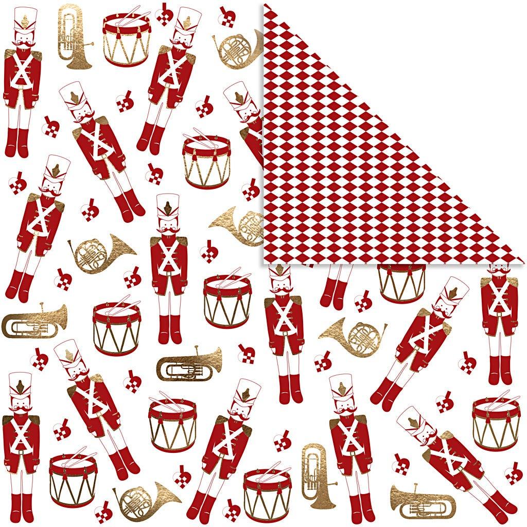 Billede af Vivi Gade, Designpapir, ark 30,5x30,5 cm, 180 g, hvid, guld, rød, nøddeknækker, 3ark