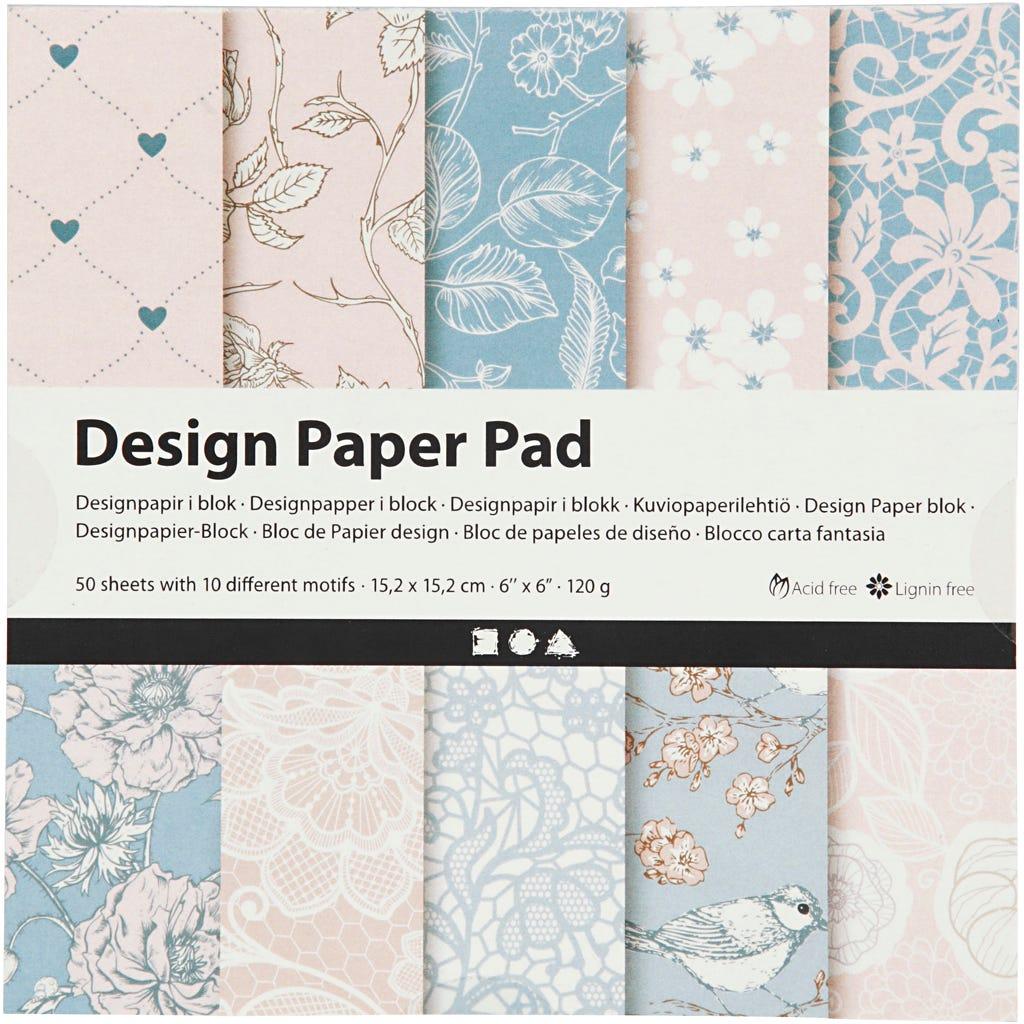 Billede af Creativ Company, Designpapir i blok, ark 15,2x15,2 cm, 120 g, rosa, 50ark
