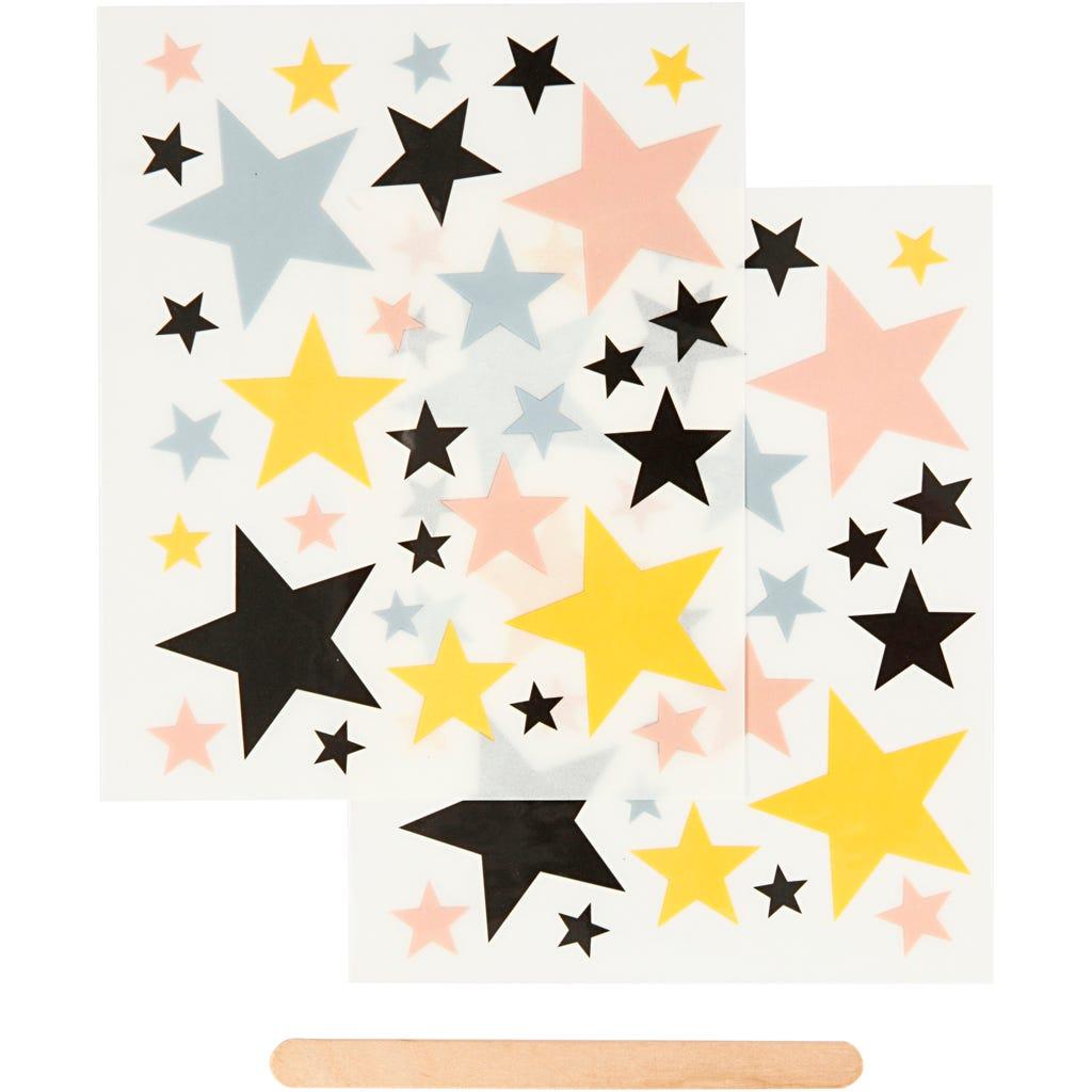 Billede af Creativ Company, Rub on stickers, ark 12,2x15,3 cm, stjerner, 1pk.