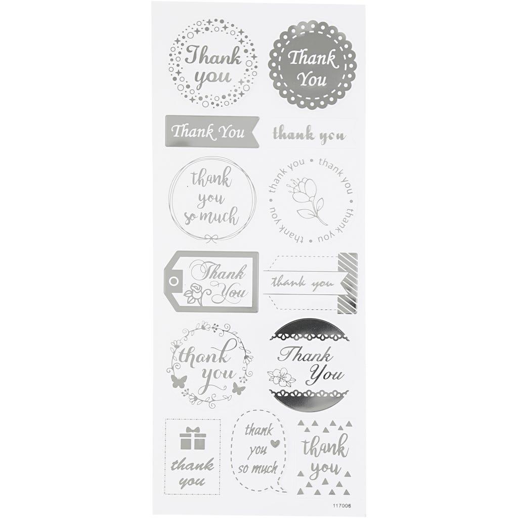 Billede af Creativ Company, Stickers, ark 10x24 cm, ca. 13 stk., sølv, thank you, 1ark