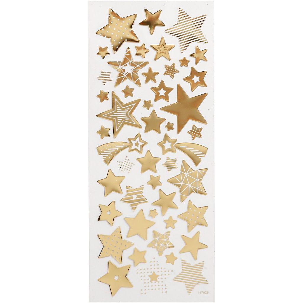 Billede af Creativ Company, Stickers, ark 10x24 cm, ca. 52 stk., guld, stjerner, 1ark