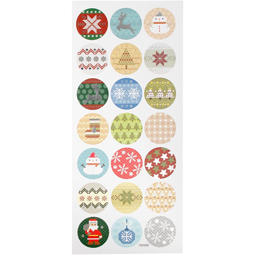 Billede af Creativ Company, Stickers, ark 10x23 cm, ca. 21 stk., julebroderi, 1ark
