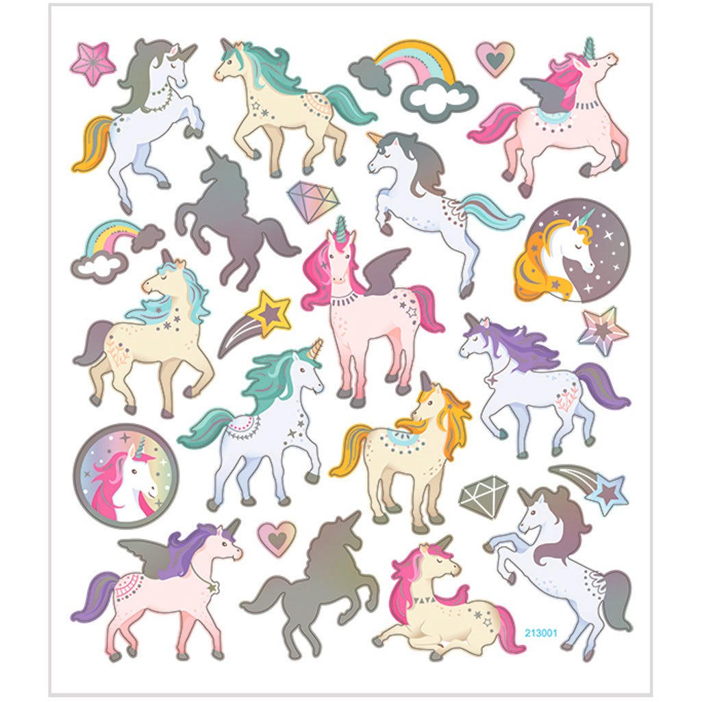 Billede af Creativ Company, Stickers, ark 15x16,5 cm, ca. 27 stk., enhjørninge, 1ark