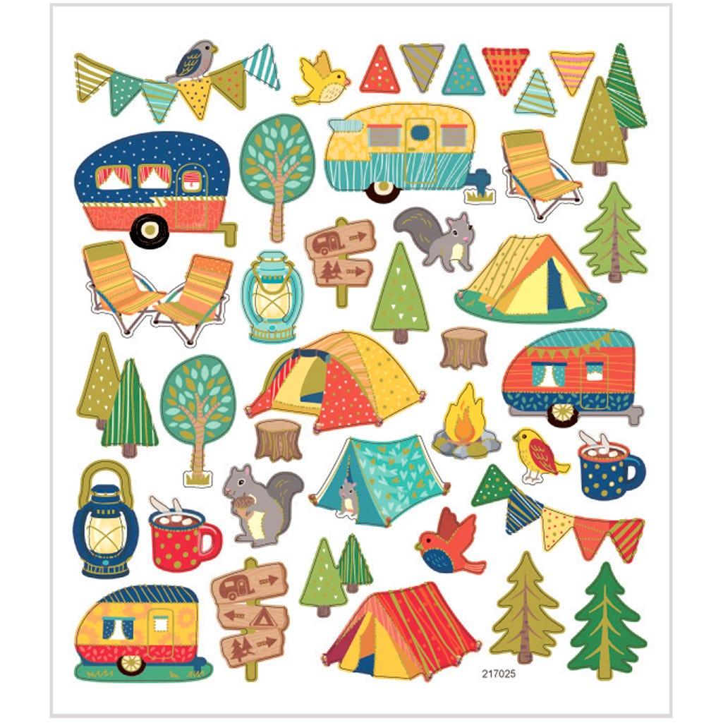Billede af Creativ Company, Stickers, ark 15x16,5 cm, ca. 40 stk., campingtur, 1ark
