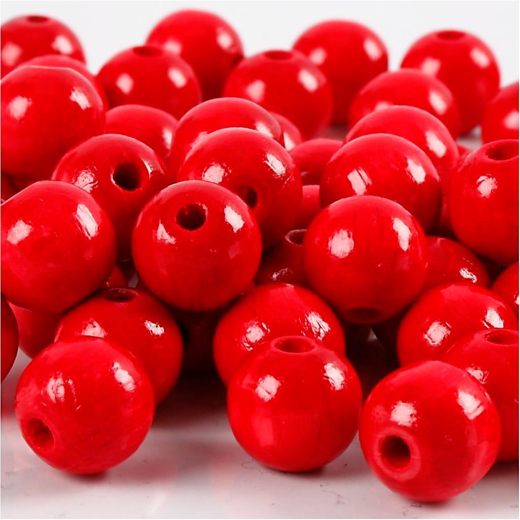 Billede af Creativ Company, Træperler, diam. 10 mm, hulstr. 3 mm, rød, 20g, ca. 70 stk.