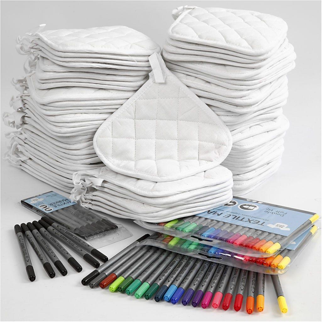 Billede af EasyKit, Grydelapper med tusch, hvid, sort, standardfarver, 40 personer, 1sæt