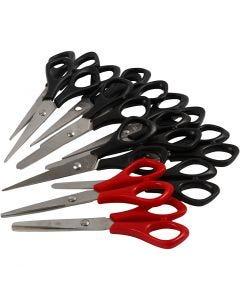 Skolesaks, L: 14 cm, Højre- og venstrehånd, sort, rød, 12 stk./ 1 pk.