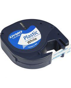 Dymo tape plast, L: 4 m, B: 12 mm, hvid, 4 m/ 1 rl.