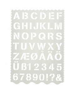 Skabelon, bogstaver og tal, H: 25 mm, 21x29 cm, 1 stk.