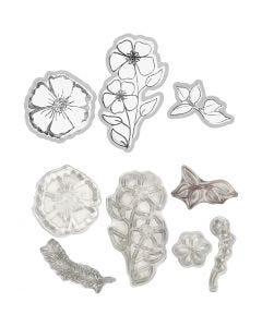 Stempler og skæreskabeloner, blomst, 1 stk.