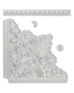 Skære- og prægeskabelon, dekorative hjørner, str. 14,5x1,5 cm, 1 stk.