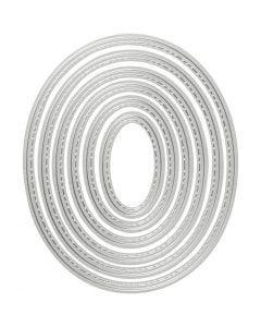 Skære- og prægeskabelon, oval, str. 5x3-12x10 cm, 1 stk.