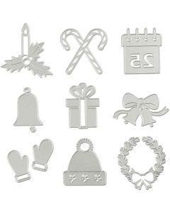 Skære- og prægeskabelon, julemotiver, diam. 2-6,5 cm, 1 stk.