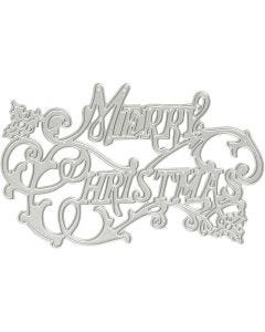 Skæreskabelon, Merry Christmas, diam. 11,5x7,2 cm, 1 stk.