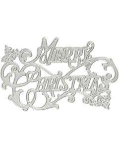 Skære- og prægeskabelon, Merry Christmas, diam. 11,5x7,2 cm, 1 stk.