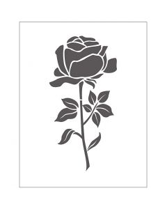 Prægeskabelon, rose, str. 11x14 cm, tykkelse 2 mm, 1 stk.