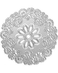 Skære- og prægeskabelon, blomst, diam. 10,5 cm, 1 stk.