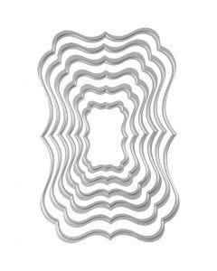 Skære- og prægeskabelon, tags, str. 2,5x4-8x12 cm, 1 stk.
