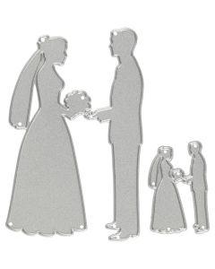 Skæreskabelon, brudepar, str. 52x81+23x35 mm, 1 stk.