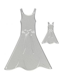 Skære- og prægeskabelon, kjoler, str. 27x35+26x90 mm, 1 stk.