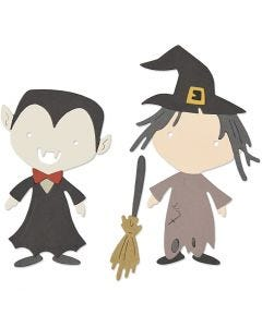 Sizzix Thinlit Skæreskabelon, 2 stk. Halloween figurer, str. 0,64x0,64 - 4,45x8,25 cm, 1 stk.