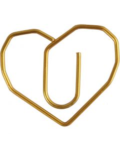 Klips, hjerte, str. 30x20 mm, guld, 6 stk./ 1 pk.