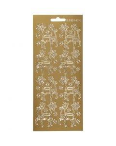 Stickers, rådyr, 10x23 cm, guld, 1 ark