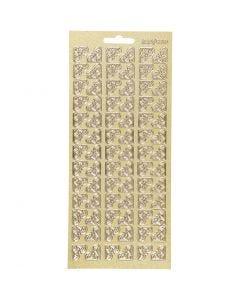 Stickers, hjørner, 10x23 cm, guld, 1 ark