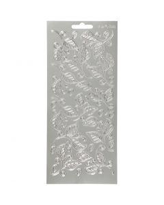 Stickers, blade, 10x23 cm, sølv, 1 ark