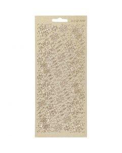 Stickers, snefnug, 10x23 cm, guld, 1 ark