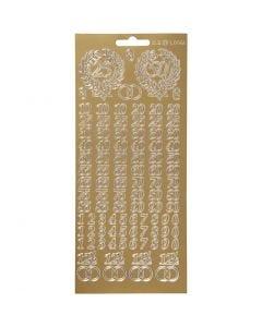 Stickers, jubilæum, 10x23 cm, guld, 1 ark