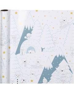 Gavepapir, polar jul, B: 70 cm, 80 g, 4 m/ 1 rl.