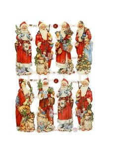 Glansbilleder, julemænd, 16,5x23,5 cm, 3 ark/ 1 pk.