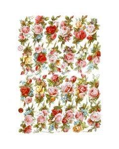 Glansbilleder, rosenbukettter, 16,5x23,5 cm, 3 ark/ 1 pk.