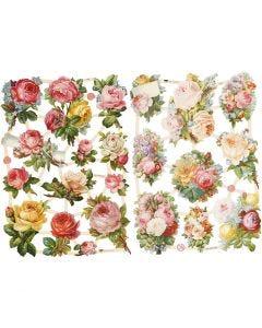 Glansbilleder, roser, 16,5x23,5 cm, 2 ark/ 1 pk.