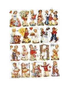 Glansbilleder, nostalgiske børn, 16,5x23,5 cm, 2 ark/ 1 pk.