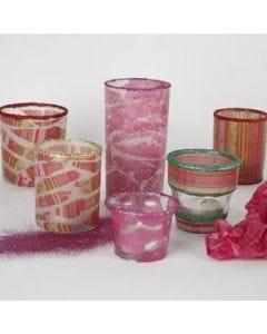 Lysglas dekoreret med decoupage og glitter