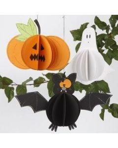 Græskar, spøgelse og flagermus ophæng med pop-up effekt af karton