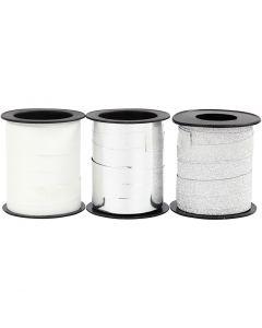 Gavebånd, sølv, sølv glitter, hvid, 3x15 m/ 1 pk.