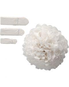 Papirpomponer, diam. 20+24+30 cm, 16 g, hvid, 3 stk./ 1 pk.